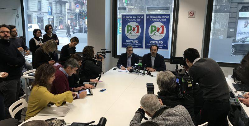 Conferenza spampa a Milano sui risultati delle elezioni